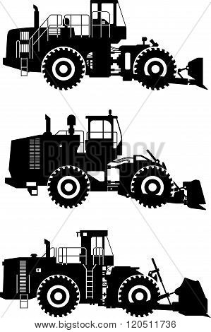 Set of different silhouettes wheel dozers isolated on white background. Heavy construction and minin