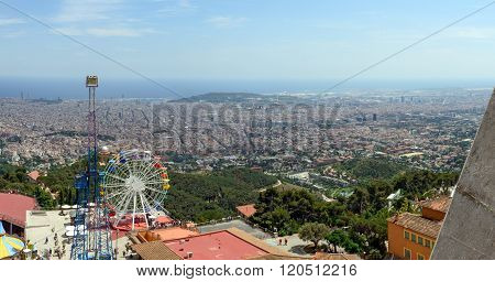 View Of Barcelona From Sacred Heart Of Jesus Church, Spain.