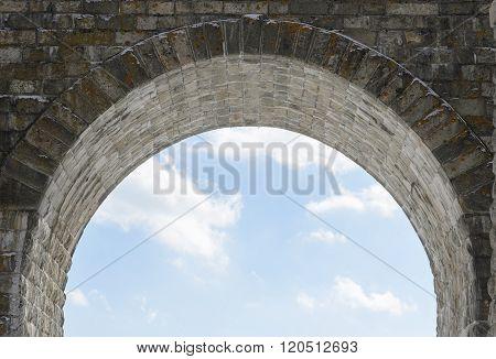 Arch of the viaduct of Circum-Baikal Railway