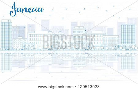 Outline Juneau skyline with blue buildings and reflections. Business travel and tourism concept with place for text. Image for presentation, banner, placard and web site.