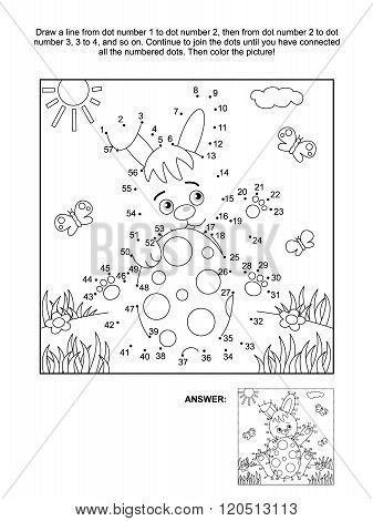 Dot-to-dot and coloring page with bunny and egg