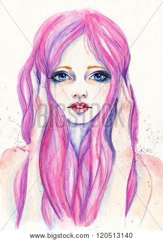 Portrait of crying girl with pink hair. Watercolor illustration