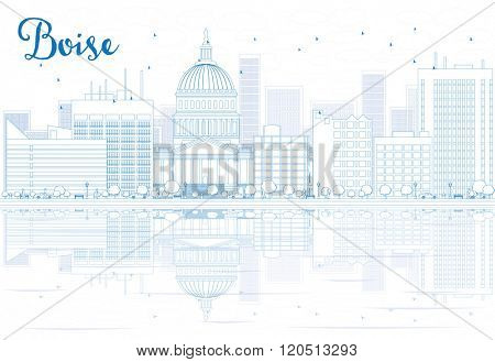 Outline Boise skyline with blue buildings and reflections. Business travel and tourism concept with place for text. Image for presentation, banner, placard and web site.