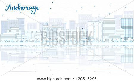 Outline Anchorage skyline with blue buildings. Business and tourism concept with copy space. Image for presentation, banner, placard or web site