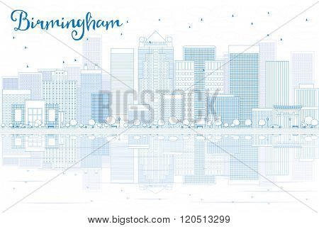 Outline Birmingham skyline with blue buildings and reflections. Business travel and tourism concept with place for text. Image for presentation, banner, placard and web site.