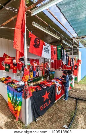 Seixal, Portugal - September 5, 2015: Festa do Avante festival, the most important Political-Cultural event in Portugal. Booth in the International City zone. Portuguese Communist Party organization.