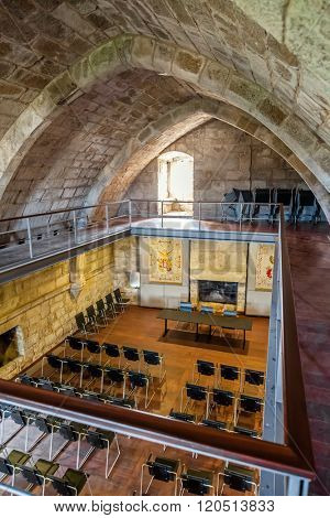 Santa Maria da Feira, Portugal - October 12, 2015: Hall in the interior of the keep of the Feira Castle.