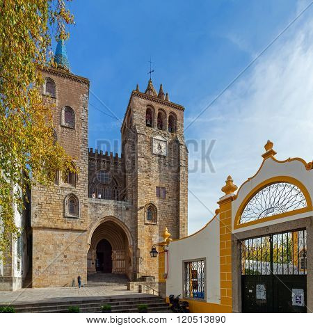 Evora, Portugal - December 1, 2015: Evora Cathedral or See, the largest cathedral in Portugal. Romanesque and Gothic architecture. UNESCO World Heritage Site.