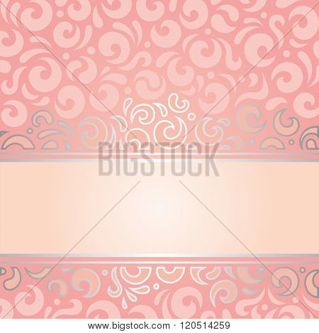 Retro decorative pink & silver invitation vintage design