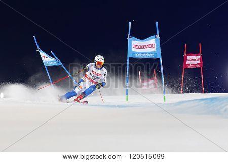 STOCKHOLM SWEDEN - FEB 23 2016: Mattias Hargin (SWE) skiing at the FIS Alpine Ski World Cup - city event February 23 2016 Stockholm Sweden