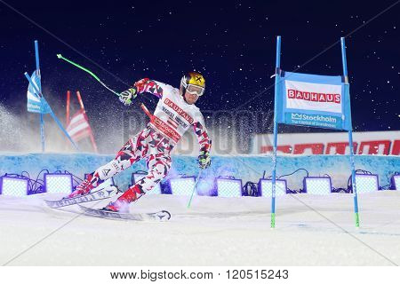 STOCKHOLM SWEDEN - FEB 23 2016: Skier Marcel Hirscher (AUT) making a spectacular landing at the FIS Alpine Ski World Cup - city event February 23 2016 Stockholm Sweden