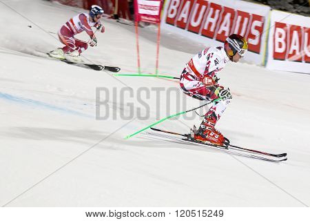 STOCKHOLM SWEDEN - FEB 23 2016: Skier Marcel Hirscher (AUT) and competitor skiing at the FIS Alpine Ski World Cup - city event February 23 2016 Stockholm Sweden