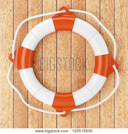Lifebuoy On Wooden Background