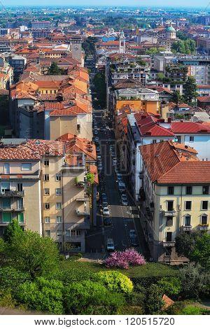 View over Bergamo Bassa from the walls around Bergamo Alta, Lombardy, Italy