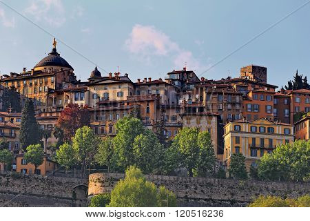 Panoramic view of Citta Alta (old town). Bergamo, Lombardy, Italy