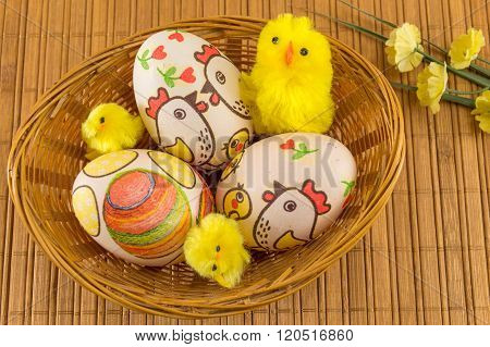 Chicken Decorated Easter Eggs