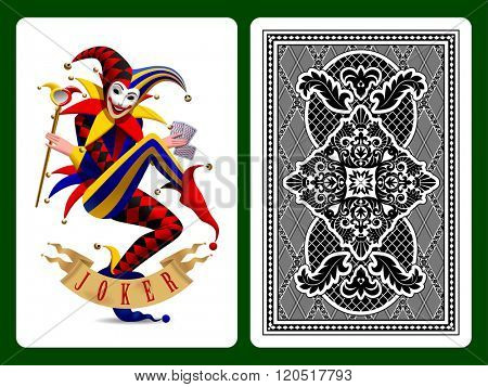 Joker playing card and black backside background. Original design. Vector illustration