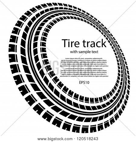 Tire track circles with text
