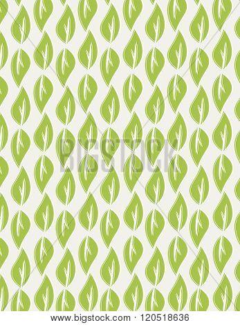 Green leaf pattern over tan color background