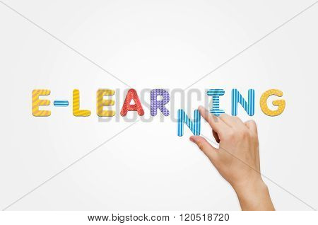 Hand Put The Word E-learning With Magnetic Letters