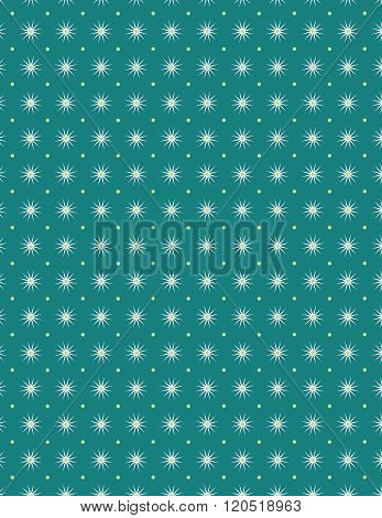 White star and yellow dot pattern over green background