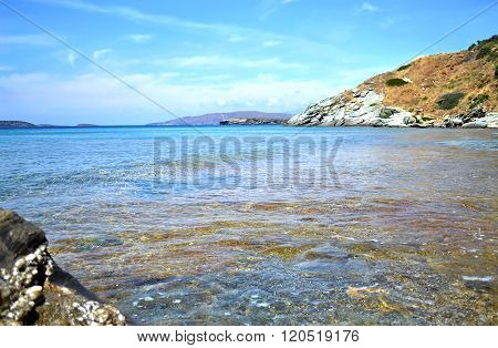 beach in Andros island Cyclades Greece