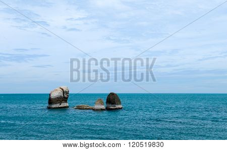 Beach With Rocks In Sea At Attraction In Samui Island, Thailand