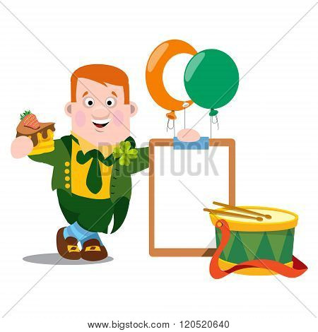 A man with a piece of cake in a green suit. The festive character in cartoon style. Congratulations