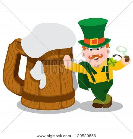 Man in the Irish pub. St. Patrick's and a huge mug of foamy beer. The festive character in cartoon s