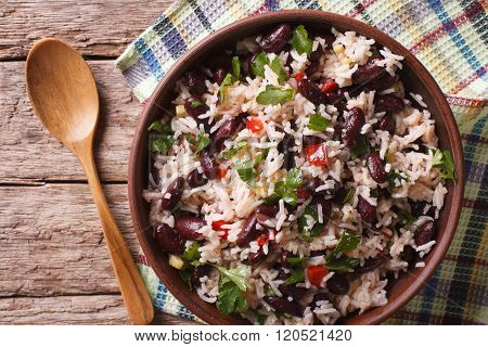 Rice With Red Beans And Vegetables In A Bowl Close-up. Horizontal Top View