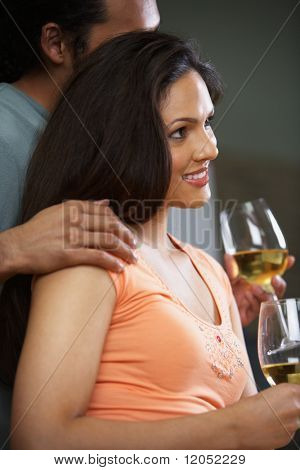 Profile of couple drinking wine