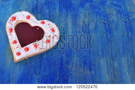 Heart Cookies On The Blue  Wood Table .