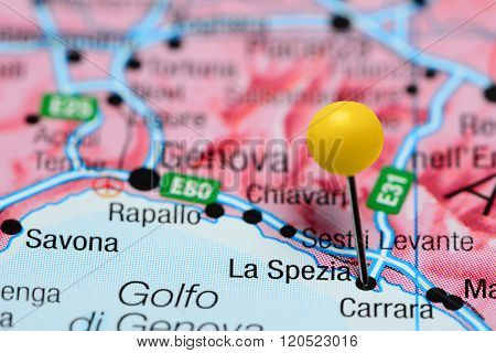 La Spezia pinned on a map of Italy