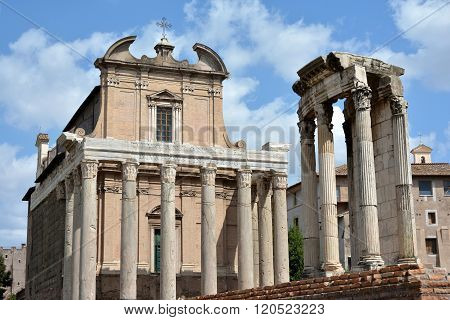 Temple Of Antoninus And Faustina With Temple Of Vesta In Roman Forum