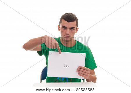 Handsome Young Man Holding White Frame With Tax Text And Pointing With His Finger