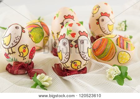 Bunch of chicken decoupage decorated Easter eggs