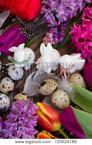 Spring flowers with easter eggs