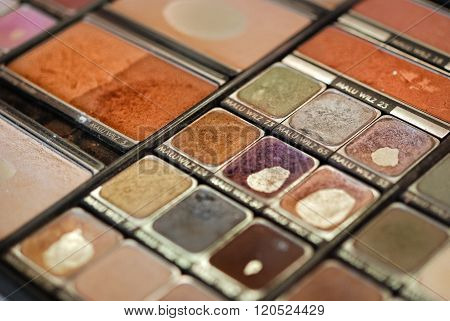 Palette Of Used Colorful Eyeshadows