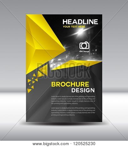 Yellow And Black Vector Brochure Flyer And Cover Template Polygon Vector Illustration Size A4