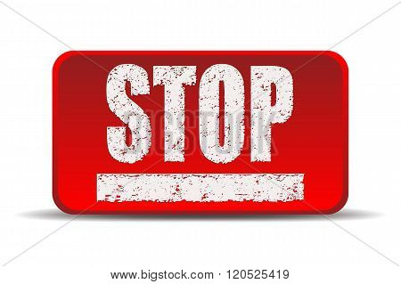Stop red square - vector illustration.