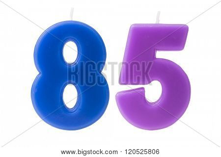 Colorful birthday candles in the form of the number 85 on white background