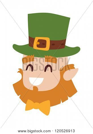 Vector smiling leprechaun head, the symbol of St. Patrick's day isolated leprechaun head on white background. Cute happy leprechaun head wearing green hat. Irish oldman head.