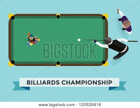 Vector billiard game champion. Billiards pool game accessories. Billiard game champion club, billiards table and billiards players. Billiard champion vector game