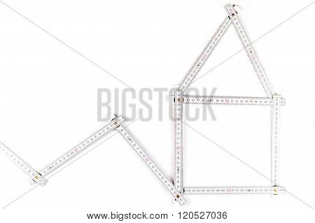 White Meter Tool Forming A House On White  Background