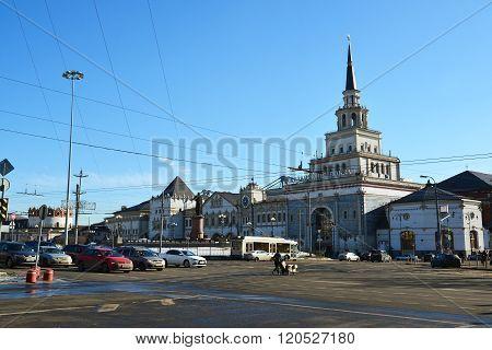 Moscow, Russia -February 18.2016. Kazansky railway station on a Komsomolskaya Square