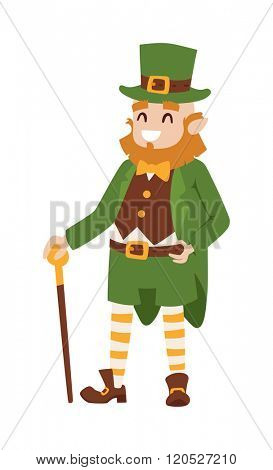 St. Patrick's Day vector Leprechaun. St. Patrick's Day vector cartoon style Leprechaun. St. Patrick's Day irish man in leaf and hat isolated on white background