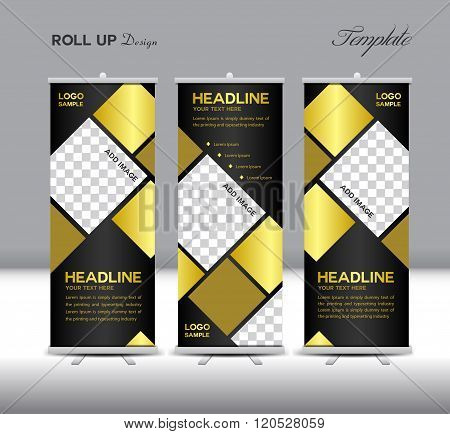 Gold And Black Roll Up Banner Template Vector Illustration Polygon Background