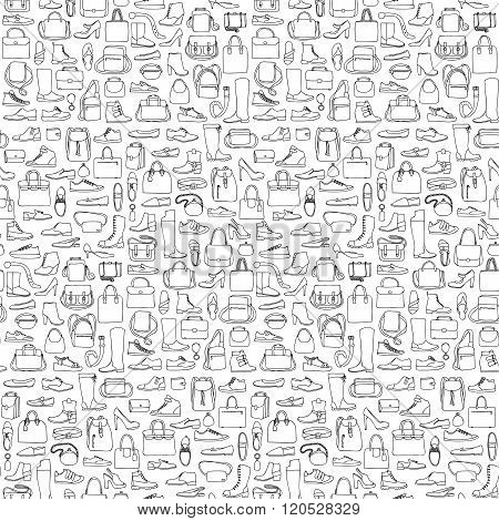 Seamless pattern of man and woman shoes and bags