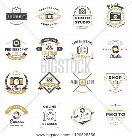 Set Of Photography Logo Design Templates. Photography Retro Badges And Labels. Black And Golden Colo