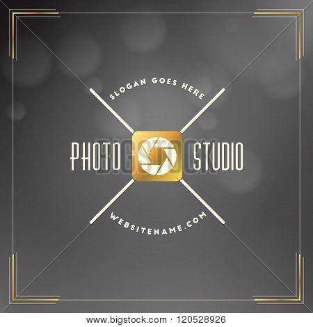 Photography Logo Design Template. Photography Retro Golden Badge. Photo Studio